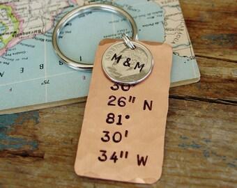 Latitude Longitude Keychain, U.S. Dime Key Chain, Personalized Gift, GPS Location, Coordinates Location Keychain, 10 Year Anniversary Gift