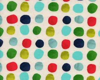 Cotton and Steel Painted Blue Dots Cotton Quilting Fabric  Blue