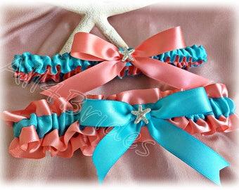 Wedding leg garter, rhinestone starfish coral reef and turquoise bridal garter belt, keepsake and toss garter set