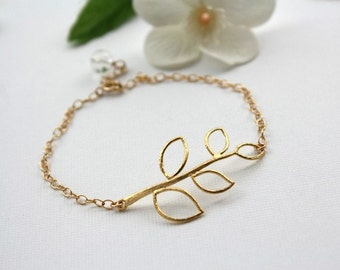 Delicate Leaf bracelet with Options to choose Silver or Gold, simple bracelet, Mother's day, Birthday, Anniversary, Christmas gift ideas