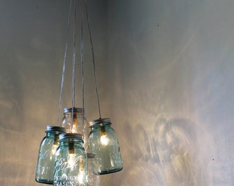 Mason Jar Chandelier Lighting Fixture, Hanging Mason Jar Pendant Light, Vintage Blue & Clear Jars, Rustic BootsNGus Lighting, Bulbs Included