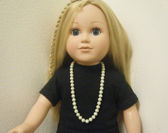 """Faux Pearl Necklace with Lobster Clasp, 18"""" Inch Doll Jewelry for  American Girl Doll"""