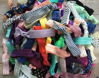 GRAB BAG - 10 pack FOE Hair Ties, Handmade Hair ties, No Crease Hair Ties, Ponytail Holder, Elastic Hair Ties, Hair Ties, Knotted Hair Ties