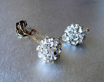 Japanned White Disco Ball Earrings Rhinestone Crystal Dangle Vintage Costume Jewelry Christmas Wedding Pageant Ballroom Cocktail Clip Back