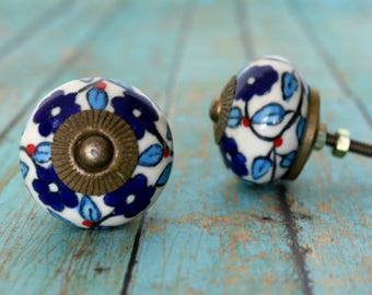 Ceramic Cabinet Knob with a Blue Floral attern