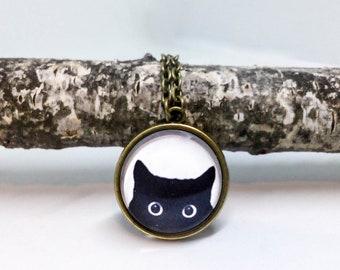 Black Cat necklace, Small charm necklace, Casual Tiny pendant, Peeking cat, Cat pendant, Kitty jewelry, Black white jewelry, Cat jewelry