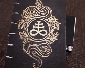 Serpent Leviathan cross - Handmade Coptic Stitch Journal - A6
