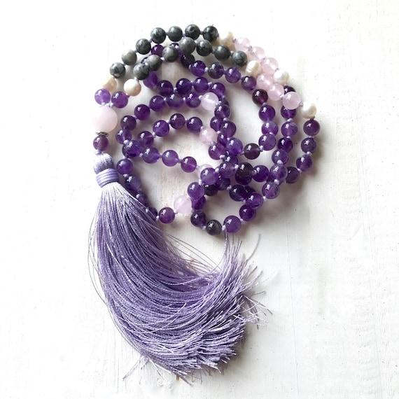 Amethyst Mala Beads, Calming Fears Mala Beads, Chakra Healing Mala, Mala Beads 108, Yoga Mala Necklace, Knotted Mala Necklace, Silk Tassel