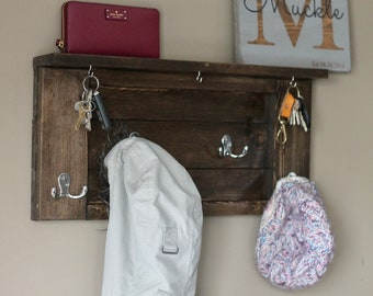 Entryway coat and key rack.  Kona Stained