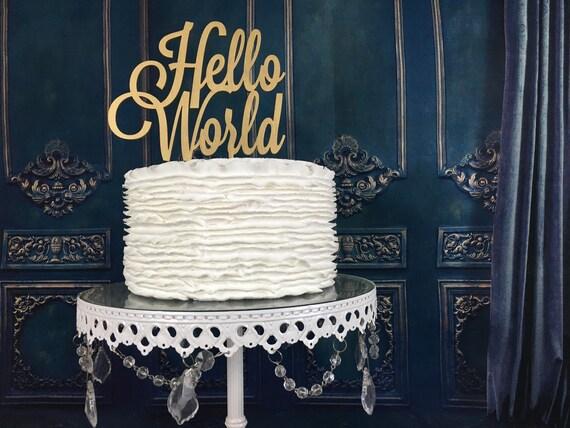 Baby Shower Cake Topper, Hello World Cake Topper, Gender Reveal Cake Topper, Welcome Baby Topper, Baby Shower, Hello World, New Baby