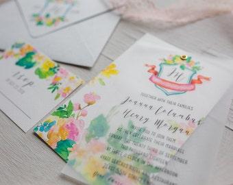 Crest Floral Vellum Wedding Invitation Template, Bohemian Wedding Invites, Printable Wedding Invitation, Vellum Invite, Outdoor Wedding