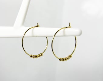 Beads gold plated hoop earrings earrings A42