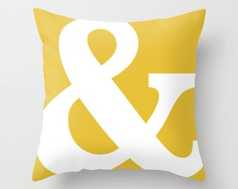 Ampersand Pillow  - Typography Throw Pillow - Modern Home Decor - Mustard Yellow - By Aldari Home