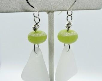 Handmade Lampwork Glass Beads and Sea Glass Earrings - Prima Donna Beads
