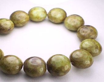 Picasso Czech Glass Beads 10mm Green Lentil Reddish Brown Picasso 15 Pcs. L-352