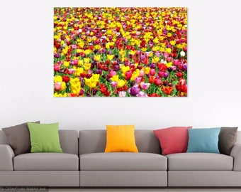 Sea of Tulips Photography, Bright Colourful Spring Flower Field, Yellow, Purple, Red Wall Art, Orange, Beautiful Home Decor, 8x12, 16x24