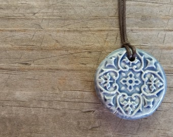 Denim Blue Rustic 4 Point Textured Essential Oil Diffuser Necklace, Ceramic Aromatherapy Pendant, Bohemian Wholesale Clay Diffuser Jewelry