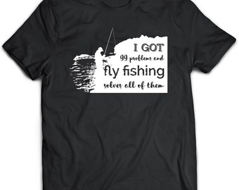 Fly Fishing Shirt, Black Top, Fishing Gift, Black Tee, Printed Top, PLus Size Clothing, Bohemian Gift, Fly Fishing Clothing, Cool Tshirt