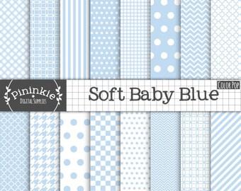 Baby Blue papier numérique - nouveau bébé garçon Digital Paper - Instant Download - Commercial usage CU - chevron bleu, bleu à pois, bl
