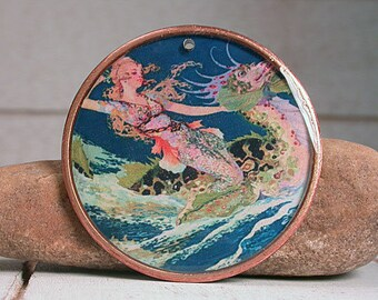 Resin Focal Bead, Resin Pendant, Mermaid Fairy and Sea Dragon, Mixed Media, Divine Spark Designs, SRA
