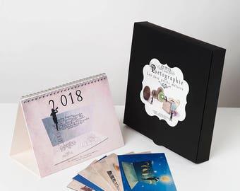 2018 Calendar, Fun calendar, Photography gift box, desk calendar, postcards, Christmas gift box, Gift idea