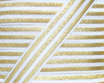 White and Gold Foil Metallic Stripe Print  Fold Over Elastic - Elastic for Baby Headbands and Hair Ties - 5 Yards 5/8 inch Print FOE