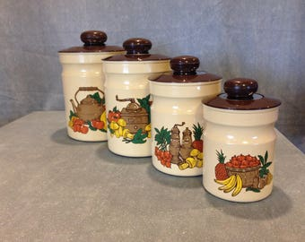 1970s Kromex Yellow Canisters Set of Four(4) Yellow Tin Canisters With Lids--Vintage-- Country Fruit & Vegetables