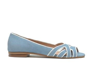 Vicky - ballerinas leather velvet-blue color