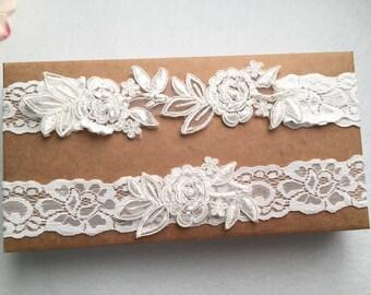 Wedding Garter , bridal garter, Tossing Garter, Keepsake Garter, off white Lace Garter, A19#
