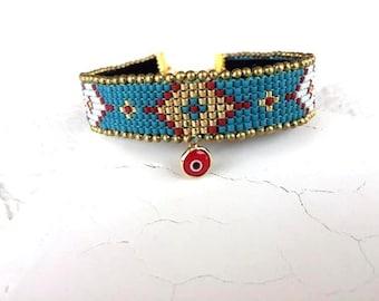 Tribal Bracelet, Boho Cuff, Evil Eye Gypsy Jewelry, Ethnic Wristband, Hippie Bracelet, Custom Jewelry, Birthday Gift, Anniversary Women Gift