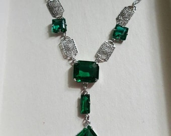 GORGEOUS Sterling Silver Art Deco Fliligree Emerald Necklace!!!!