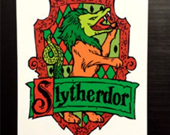 Slytherdor Cross-House Crest Vinyl Sticker