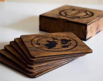 Personalized coaster set Custom wood coaster set Engraved coasters Sailor coaster set Wood engraved coaster set