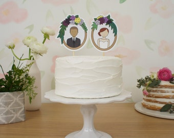 Frames Wedding Cake Topper - Optional Kids and Pets Additions