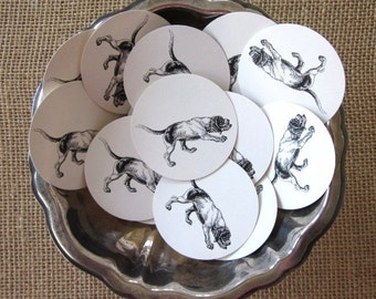 Hunting Dog Tags Round Paper Gift Tags Set of 10