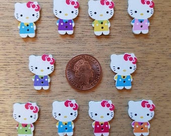 set of 10 hello kitty buttons