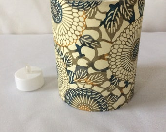 Led tea light lantern hand made with hand printed Japanese Chiyogami paper 12 cm high x 10 cm diameter