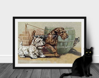 """Boy's Room Art, Girl's Room Art, Nursery Art, Family Room Art, Dogs Out For A Walk ~ """"In For a Scare"""" Gift For Cat or Dog Lover  #186"""