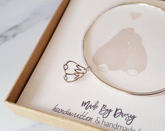 Custom Kids Drawing Jewelry- Your Childrens Drawing- Custom Drawing- Sterling Silver Bangle- Personalised Bangle- Bangle Bracelet- Mum Gift