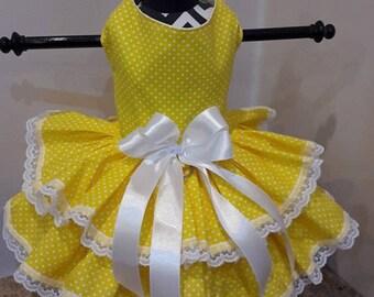 Dog Dress  yellow with white polkadots