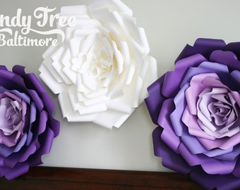 Set of 3 Big paper flowers, large paper flower,  giant paper flower wall decoration