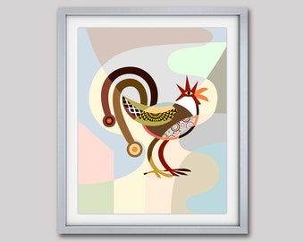 Rooster Painting, Rooster Art Print, Rooster Decor, Rooster Kitchen Decor, Chicken Decor, Chicken Art Print, Chicken Gifts, Chicken Lover