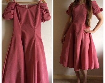 Vintage 80s PROM style pink dress