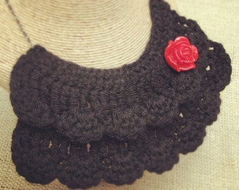 Black Crochet Bib Necklace with Red Flower