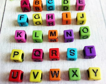 SET OF 26 LETTERS OF THE ALPHABET IN COLOR CUBE BEADS