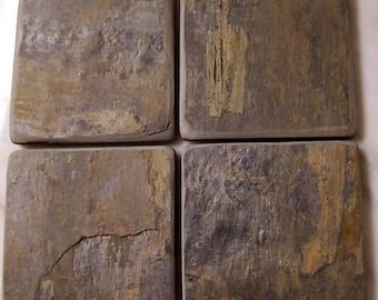 Natural Autumn Slate Stone Coasters Set of 4
