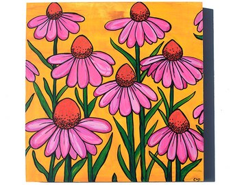 Coneflower Painting - Original Cone Flower Mixed Media Floral Painting by Claudine Intner - Pink Flower Art