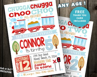 Train Party Invitation, Train Birthday Invitation, Invite Printable digital file first 1st second 2nd Chugga two choo print digital file