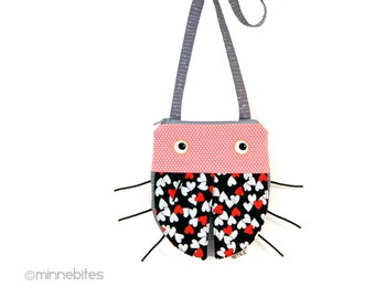 Ladybug Heart Purse - Valentines Day Love Bug - Quality Handmade Gift - Pink Fabric Toddler Purse - Girls Cross Body Purse - Ready to Ship
