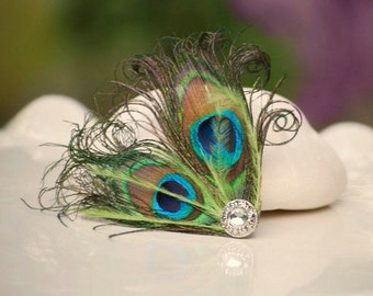 Fancy Peacock & Green Hair Clip / Comb / Pin. Couture Bride Bridal Maid of Honor, Spring Wedding, Trending Bachelorette, Rockabilly Metallic